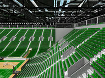 3D render of beautiful modern sports arena for basketball with green seats Stock Images