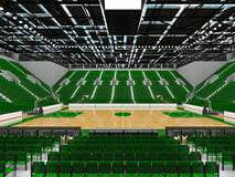3D render of beautiful modern sports arena for basketball with green seats Stock Photo