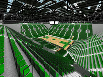 3D render of beautiful modern sports arena for basketball with green seats Royalty Free Stock Photo