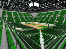 3D render of beautiful modern sports arena for basketball with green seats Stock Photography