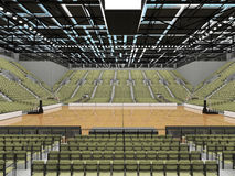 3D render of beautiful modern sports arena for basketball with olive green gray seats Royalty Free Stock Photography