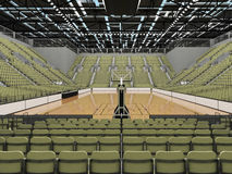 3D render of beautiful modern sports arena for basketball with olive green gray seats Royalty Free Stock Image