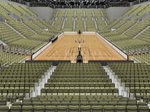 3D render of beautiful modern sports arena for basketball with olive green gray seats Stock Image