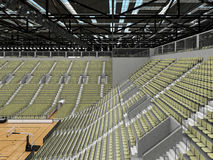 3D render of beautiful modern sports arena for basketball with olive green gray seats Royalty Free Stock Photos