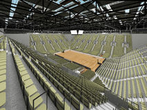 3D render of beautiful modern sports arena for basketball with olive green gray seats Stock Photography
