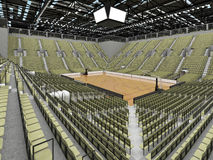 3D render of beautiful modern sports arena for basketball with olive green gray seats Stock Images