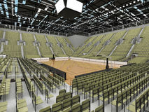 3D render of beautiful modern sports arena for basketball with olive green gray seats Royalty Free Stock Images