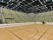 3D render of beautiful modern sports arena for basketball with olive green gray seats Stock Photo