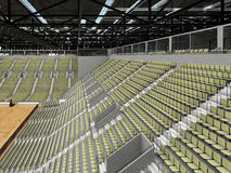 3D render of beautiful modern sports arena for basketball with olive green seats Royalty Free Stock Photos