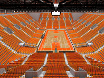 3D render of beautiful modern sports arena for basketball with orange seats. 3D render of beautiful sports arena for basketball with floodlights and orange seats Royalty Free Stock Images