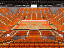 3D render of beautiful modern sports arena for basketball with orange seats. 3D render of beautiful sports arena for basketball with floodlights and orange seats Stock Photography
