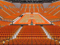 3D render of beautiful modern sports arena for basketball with orange seats. 3D render of beautiful sports arena for basketball with floodlights and orange seats Royalty Free Stock Photo