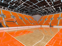 3D render of beautiful modern sports arena for basketball with orange seats. 3D render of beautiful sports arena for basketball with floodlights and orange seats Royalty Free Stock Image