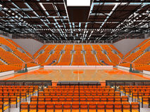 3D render of beautiful modern sports arena for basketball with orange seats. 3D render of beautiful sports arena for basketball with floodlights and orange seats Stock Image