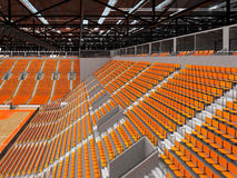 3D render of beautiful modern sports arena for basketball with orange seats. 3D render of beautiful sports arena for basketball with floodlights and orange seats Royalty Free Stock Photos