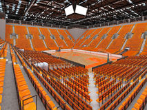 3D render of beautiful modern sports arena for basketball with orange seats. 3D render of beautiful sports arena for basketball with floodlights and orange seats Stock Photo
