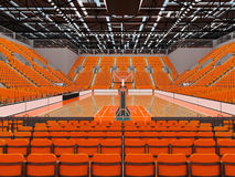 3D render of beautiful modern sports arena for basketball with orange seats. 3D render of beautiful sports arena for basketball with floodlights and orange seats Stock Photos