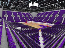 3D render of beautiful modern sports arena for basketball with purple seats Stock Images
