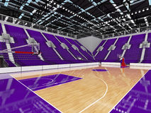 3D render of beautiful modern sports arena for basketball with purple seats Stock Image