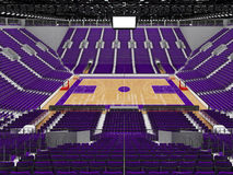 3D render of beautiful modern sports arena for basketball with purple seats Stock Photos