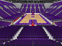 3D render of beautiful modern sports arena for basketball with purple seats Stock Photography