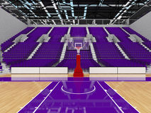 3D render of beautiful modern sports arena for basketball with purple seats Royalty Free Stock Image