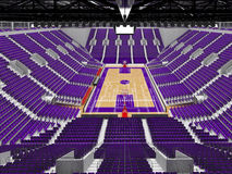 3D render of beautiful modern sports arena for basketball with purple seats Royalty Free Stock Photography