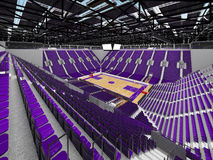 3D render of beautiful modern sports arena for basketball with purple seats Royalty Free Stock Images