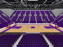 3D render of beautiful modern sports arena for basketball with purple seats Royalty Free Stock Photo
