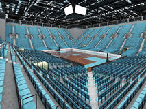 3D render of beautiful modern sports arena for basketball with sky blue seats Stock Images