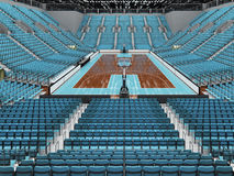 3D render of beautiful modern sports arena for basketball with sky blue seats Stock Photo