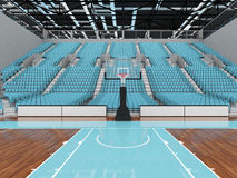 3D render of beautiful modern sports arena for basketball with sky blue seats Stock Photos