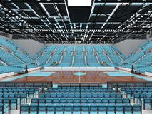 3D render of beautiful modern sports arena for basketball with sky blue seats Stock Photography