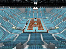 3D render of beautiful modern sports arena for basketball with sky blue seats Royalty Free Stock Photos