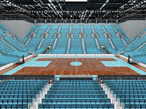 3D render of beautiful modern sports arena for basketball with sky blue seats Royalty Free Stock Photography