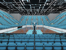 3D render of beautiful modern sports arena for basketball with sky blue seats Royalty Free Stock Photo