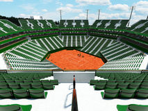 3D render of beautiful modern tennis clay court stadium  green seats for fifteen thousand fans Stock Photography