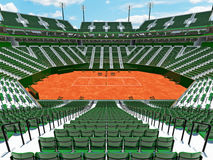 3D render of beautiful modern tennis clay court stadium  green seats for fifteen thousand fans Stock Images