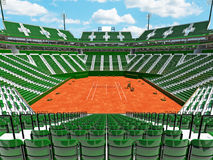 3D render of beautiful modern tennis clay court stadium  green seats for fifteen thousand fans Stock Image