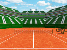 3D render of beautiful modern tennis clay court stadium  green seats for fifteen thousand fans. Beautiful modern tennis clay court stadium with green seats for Royalty Free Stock Photo