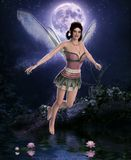 Beautiful night fairy in front of a full moon vector illustration