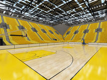3D render of beautiful sport arena for basketball with yellow seats Stock Images