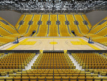 3D render of beautiful sport arena for basketball with yellow seats Royalty Free Stock Photography