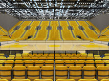 3D render of beautiful sport arena for basketball with yellow seats Stock Photos