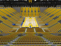 3D render of beautiful sport arena for basketball with yellow seats Royalty Free Stock Image