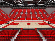 3D render of beautiful sports arena for basketball with red seats. 3D render of beautiful sports arena for basketball with floodlights and red seats and VIP Royalty Free Stock Images