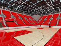3D render of beautiful sports arena for basketball with red seats. 3D render of beautiful sports arena for basketball with floodlights and red seats and VIP Stock Photos