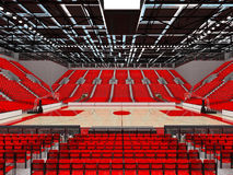 3D render of beautiful sports arena for basketball with red seats. 3D render of beautiful sports arena for basketball with floodlights and red seats and VIP Stock Photo