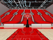 3D render of beautiful sports arena for basketball with red seats. 3D render of beautiful sports arena for basketball with floodlights and red seats and VIP Royalty Free Stock Photography
