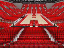 3D render of beautiful sports arena for basketball with red seats Stock Images